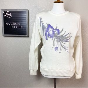 Vintage Ivory Sweater Purple Flower Silver Glitter